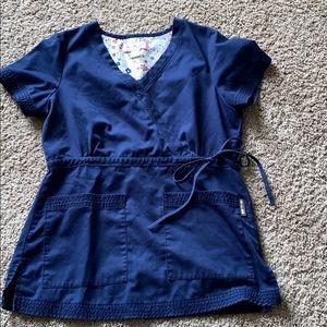 Koi Navy blue scrub top size small